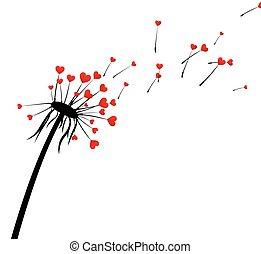 Valentine's background with love dandelion. - White...