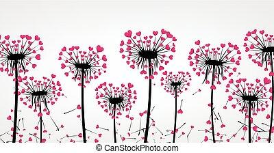 Valentine's background with love dandelions. - Valentine's...