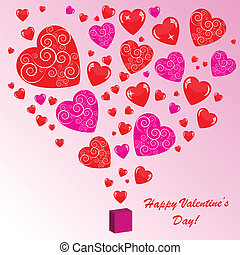 Valentine's background with many hearts