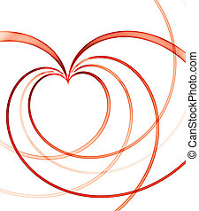valentines background with red linear heart