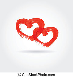 Valentine`s background with two red hearts