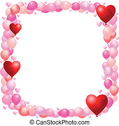 Valentines balloon frame - Vector balloon frame with hearts...