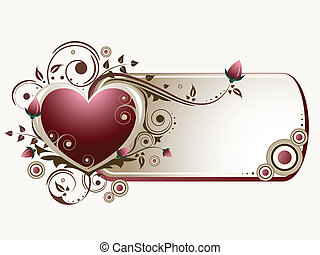 Cute Valentine's banner ornate with curls, circles and roses.