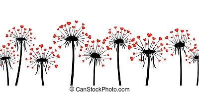 Valentine's banner with love dandelions. - White Valentine's...