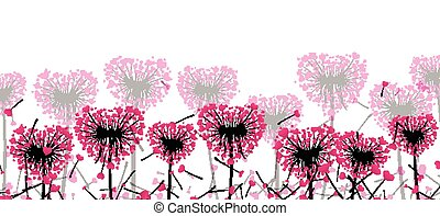 Valentine's banner with love dandelions.