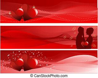 valentine\'s, bannières, jour
