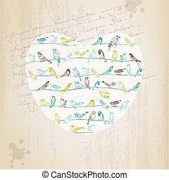 Valentine's Birds Card - for design, invitation, scrapbook - in vector