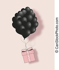 Valentines black hearts balloon with gift box postcard on pale pink background. Love and holiday symbols for Happy Women's, Mother's, Valentine's Day, birthday greeting card vector flat illustration
