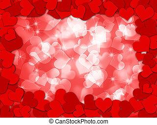 valentines, bokeh, cœurs, frontière, jour, heureux