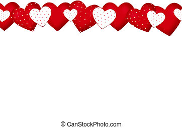 valentine`s border with red and white hearts in dots