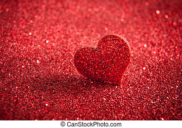 Valentines Bright Red Heart On A Glitter Background
