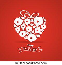 valentines, cadeau, hart, bloem, roos