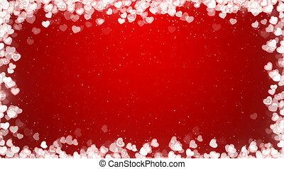 valentines, cadre, voler, arrière-plan., vidéo, cœurs, jour, rouges