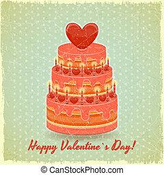 Valentines Cake on Vintage Background