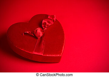 Valentine's Candy Box on red background