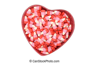 valentines candy corn in heart bowl