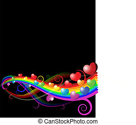 Valentines card - Abstract rainbow curves with hearts -...