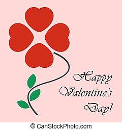Valentine's card as a four-leaf