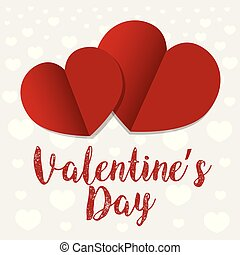 Valentine's card design with paper hearts