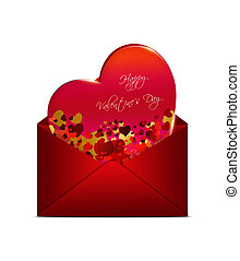 valentines card in red envelope isolated over white background