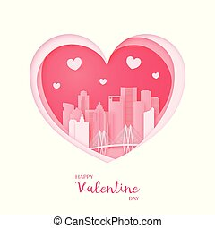 Valentines card. Paper cut heart and city of Houston.