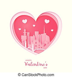 Valentines card. Paper cut heart and city of Milan.