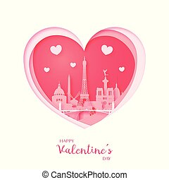 Valentines card. Paper cut heart and city of Paris.