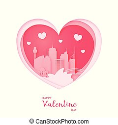 Valentines card. Paper cut heart and the city Sydney.