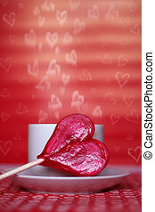 valentine\\\'s card with heart shaped lollipop
