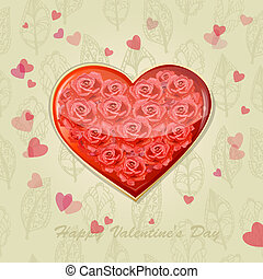 Valentine's card with a heart of roses
