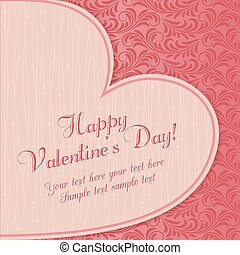 Valentine's card with big heart, pink