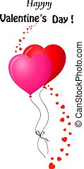 valentine's card with couple of red and pink heart balloons