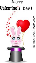 Valentine's card with cute bunny holds red heart balloon in magic hat