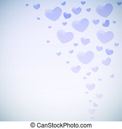 Valentine's card with glowing blue heart shapes.
