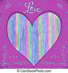 Valentines card with heart made of hand drawn on pink background.