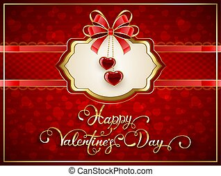 Valentines card with hearts and bow on red background