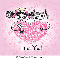 Valentines card with hearts and cou