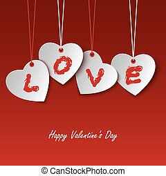 Valentines card with hearts and the word love