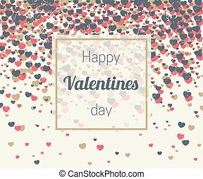 Valentines card with hearts confetti