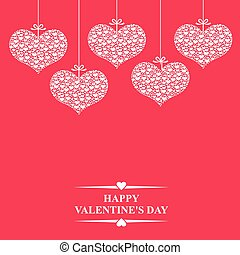 Valentines card with hearts hang on magenta background