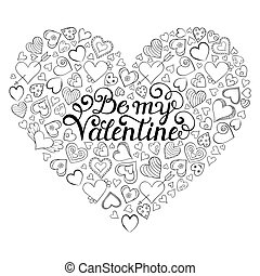 Valentines card with hearts