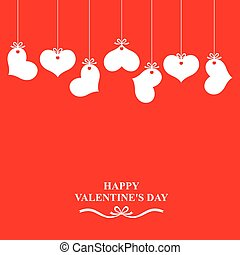 Valentines card with hearts labels on red background