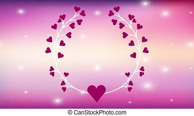 valentines card with hearts love crown animation -...