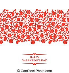 Valentines card with horizontal red floral ornament