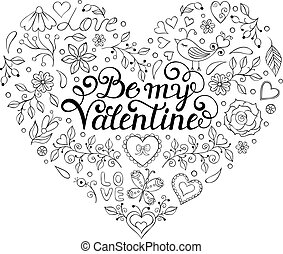Valentines card with hearts,birds,flowers