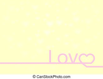 Valentines card with line Love heart lettering Background, vector