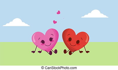 valentines card with love couple hearts in the field characters