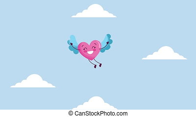 valentines card with love heart flying character ,4k video animation
