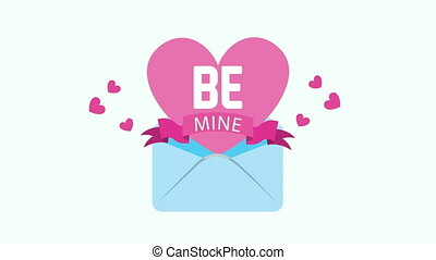 valentines card with love heart in envelope ,4k video animation