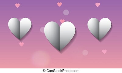 valentines card with love hearts ,4k video animation